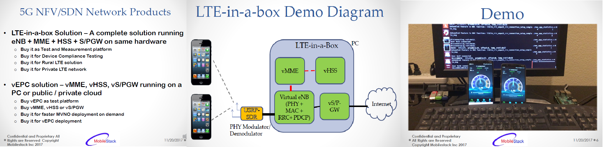 DEMO – Low cost LTE solution and vEPC solution